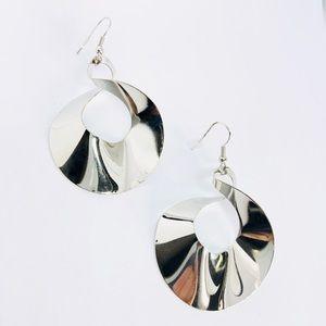 New! Modern Twisted Dangle Earrings Silver